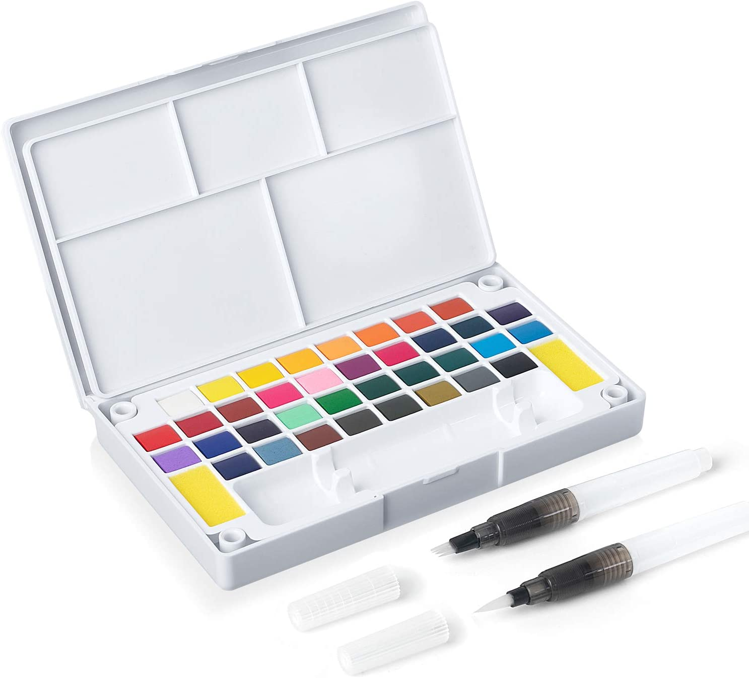 Complete Travel Watercolor Set Includes 12 Brilliant Half Pan Colors Field Artist Pro 12HP 2 Custom Brushes a Classic Metal Field Box All fits in Your Pocket! a Genuine Sea Sponge