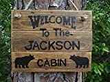 Personalized cabin name sign| custom cabin bear sign| rustic cabin sign| custom family cabin sign| welcome family cabin sign| Welcome bear custom sign| rustic cabin decor| rustic bear sign