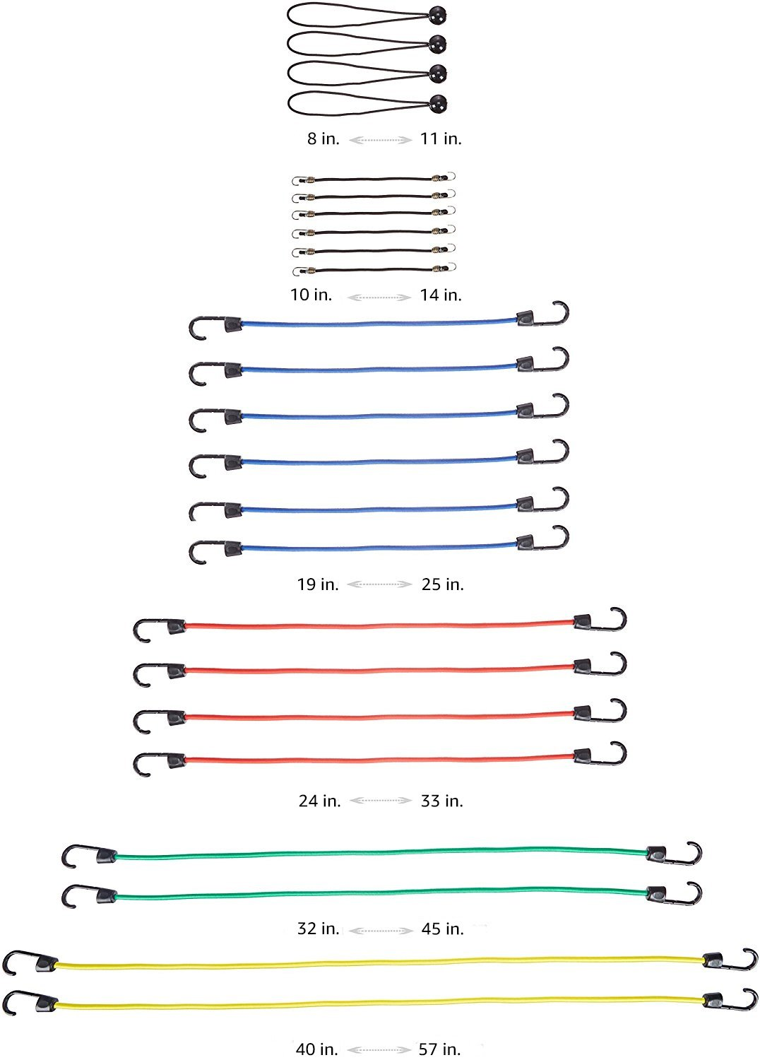 Pack of 6 Basics Bungee Strap