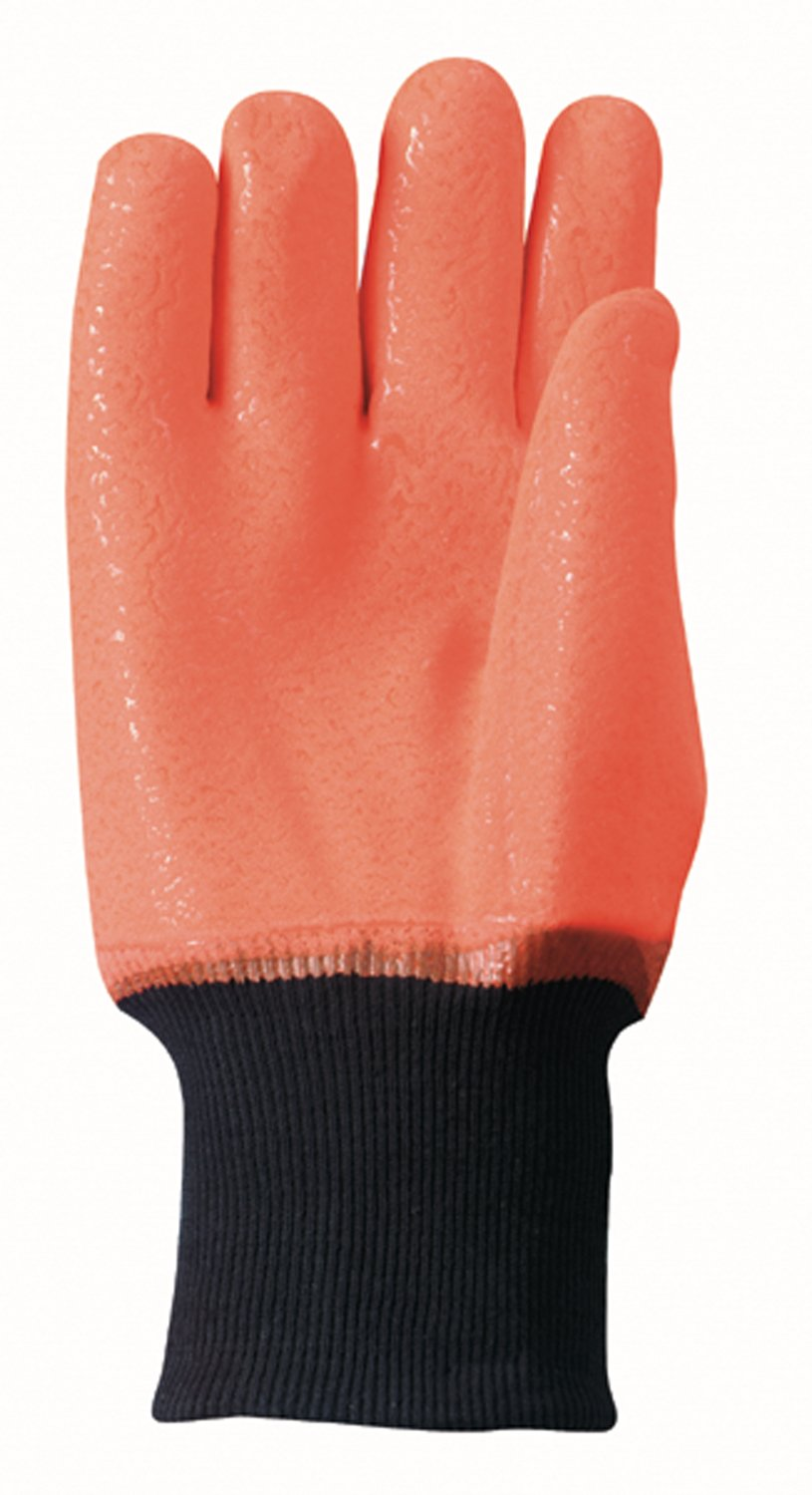 PVC Coated Chemical Resistant Cold Weather Work Gloves Wells Lamont 164 One Size High Visibility