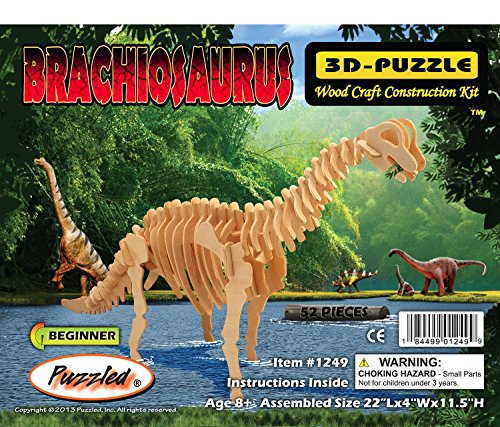 (Puzzled Brachiosaurus LR 3D Natural Wood Puzzle)