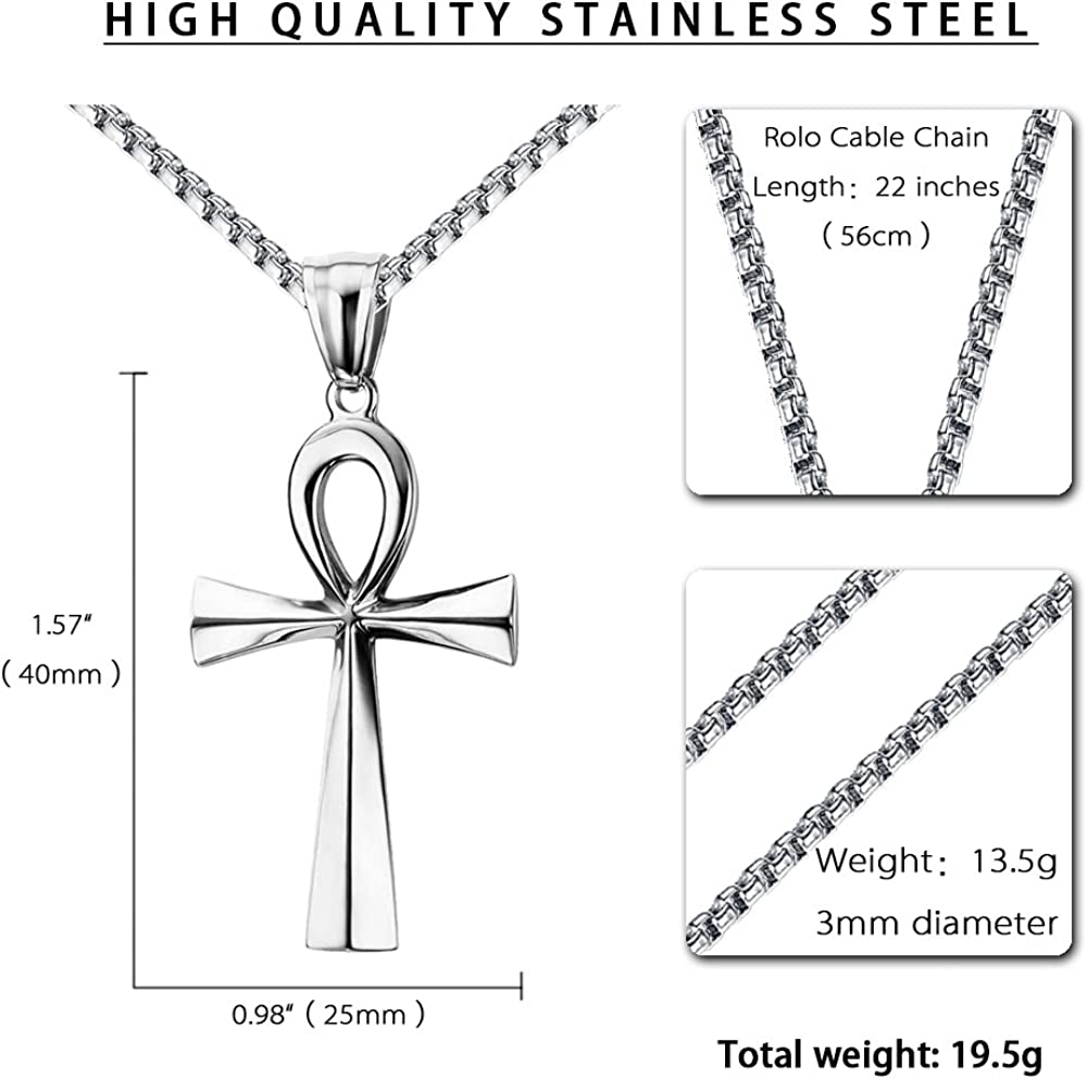 20-24 Inches Chain Reve Stainless Steel Coptic Ankh Cross Religious Pendant Necklace for Men Women