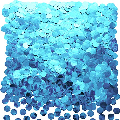 Light Blue Foil Metallic Round Table Confetti Decor