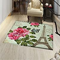 Paris Small Rug Carpet Shabby Chic Romantic Roses Flowers Leaves Eiffel Tower Abstract Lettering Door mat Indoors Bathroom Mats Non Slip 2x3 Multicolor