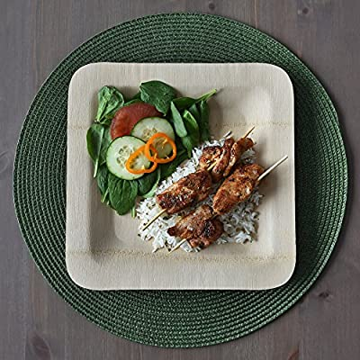 "DISPOSABLE BAMBOO PLATES, Sturdy 10"" Square, Multiple Pack Sizes, Eco-friendly Compostable Tree-Free, Natural Alternative to Plastic & Paper, All Occasion: Weddings, Parties & Picnics by Arborware"