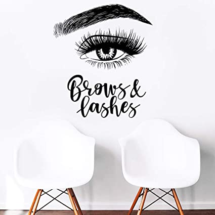 f403b767d40 Melissalove Left Eyelashes Decals Quotes Brows & Lashes Wall Stickers  Beauty Salon Shop Decor Sign Wall