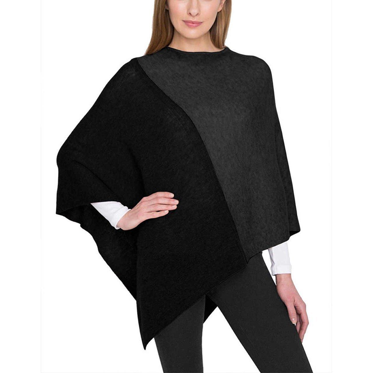 Celeste Ladies Colorblock Cashmere Blend Travel Wrap Poncho - Charcoal/Black