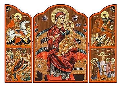 Joseph's Giftshop Madera Con Catholic De Tríptico St Griego Icono ZPXOkui