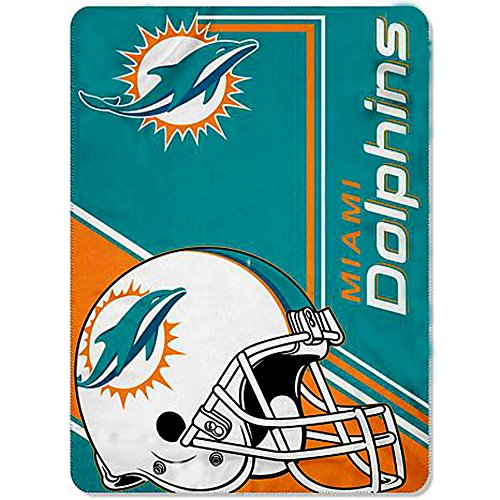 Miami Dolphins blanket bedding 62x90 XXL NFL Fins throw LIGHTWEIGHT