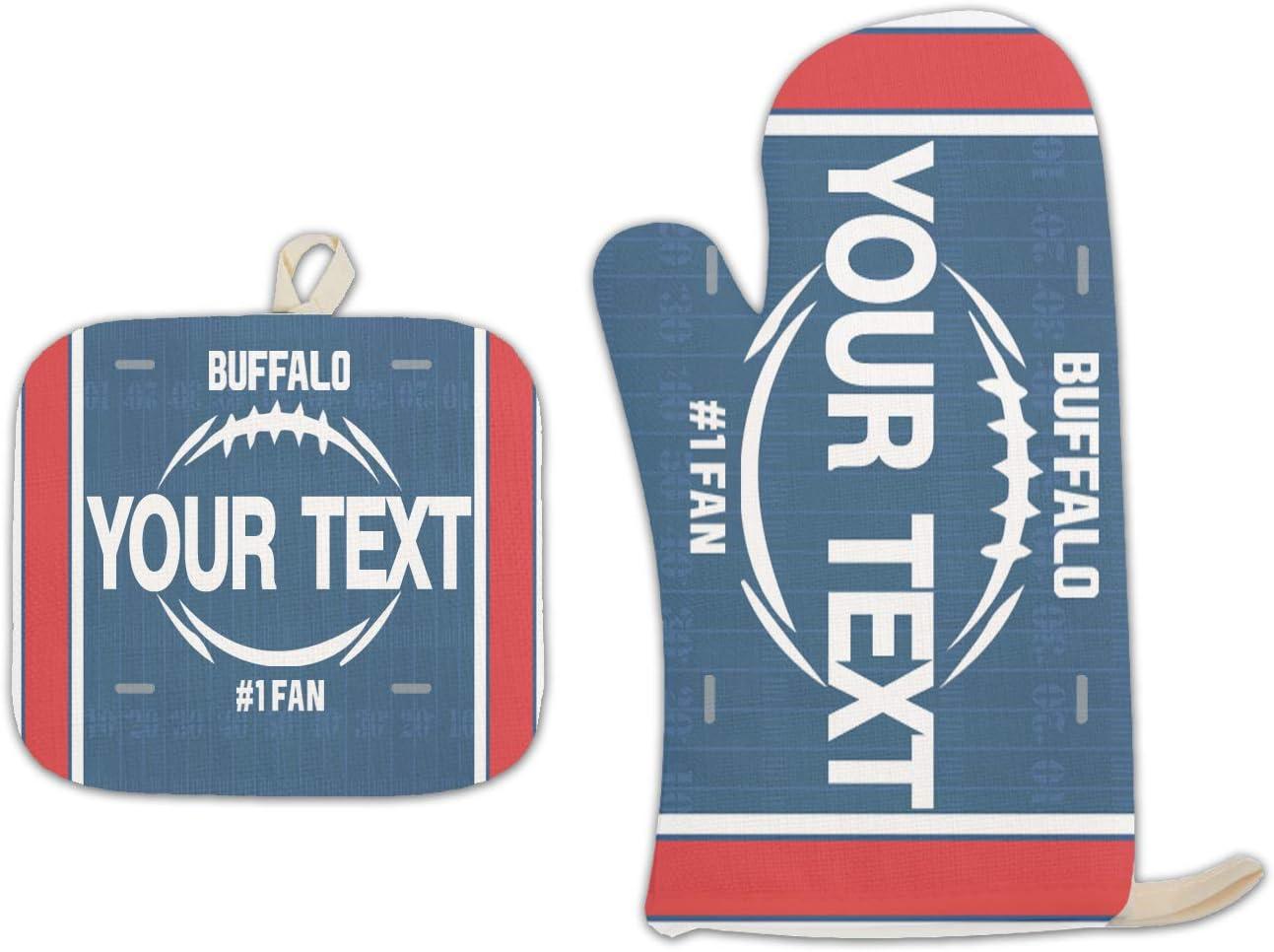 Bleu Reign BRGiftShop Personalized Custom Name Football Team Buffalo Linen Oven Mitt and Potholder Set