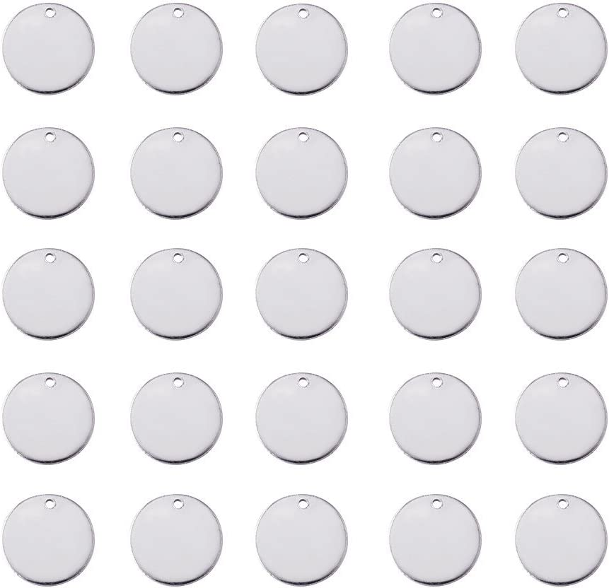 10x0.6mm Beadthoven 10pcs 304 Stainless Steel Blank Stamping Tag Pendants for Bracelet Earring Pendant Charms Flat Round