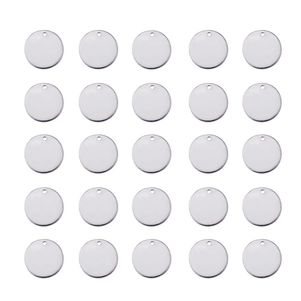 Beadthoven 100pcs 304 Stainless Steel Blank Stamping Tag Pendants for Bracelet Earring Pendant Charms 3/8''Inch(10mm) 4336819842