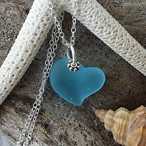 Handmade sea glass jewelry from Hawaii, blue heart sea glass necklace, sterling silver chain,gift box,, sea glass jewelry. (Polynesian Shipping)