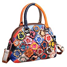 Heshe® Hobo Organizer Multi-color Stitching Splicing Shoulder Cross Body Top Handle Bags Handbags for Women with Flowers Summer Style
