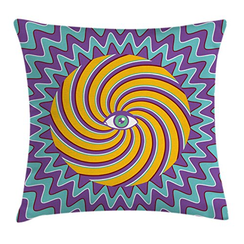 Car Seat Circles - Ambesonne Vintage Decor Throw Pillow Cushion Cover, Third Eye Symbol inside Hypnotic Spiral Circles Trippy Lines Mystic Hippie Boho, Decorative Square Accent Pillow Case, 16 X 16 Inches, Multi