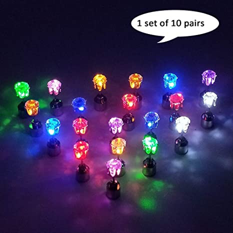 a5df4d699d38b esonstyle 10 Pairs Bright Stylish Fashion LED Earrings Glowing Light Up  Earrings Diamond Crown Ear Drop Pendant Stud Stainless Multicolor