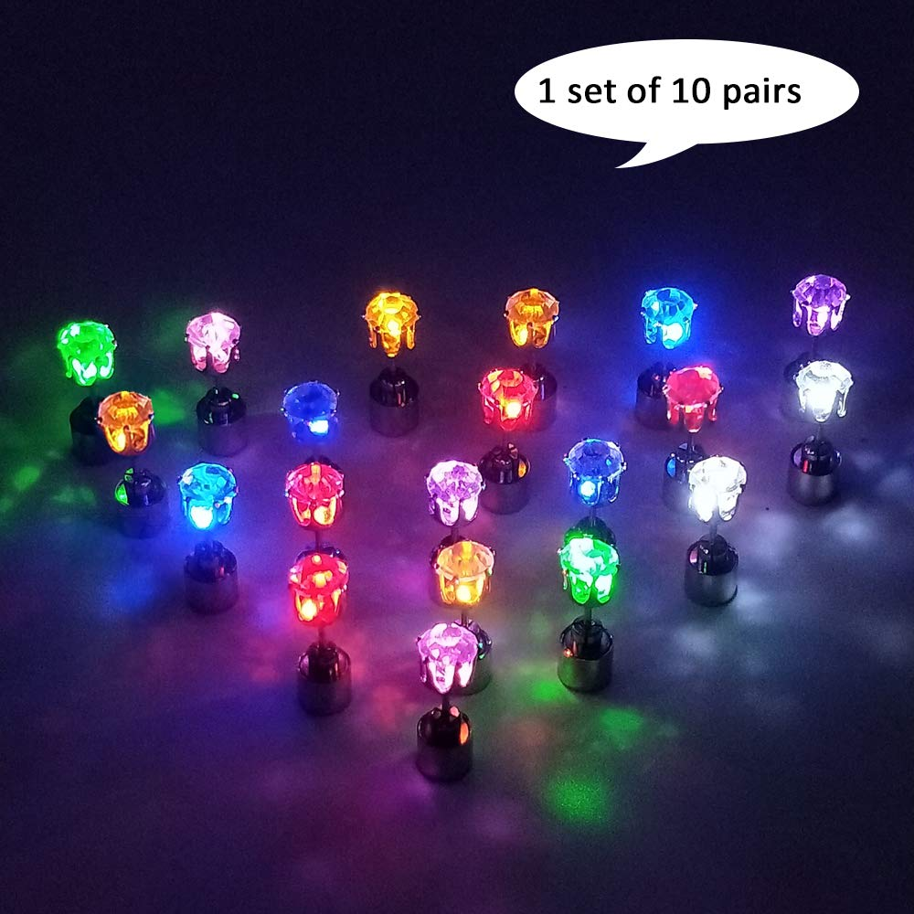 Color Led Earrings Light Up Glowing Studs Ear Ring Drop: Amazon.com: Cofufu 6PCS LED Earrings