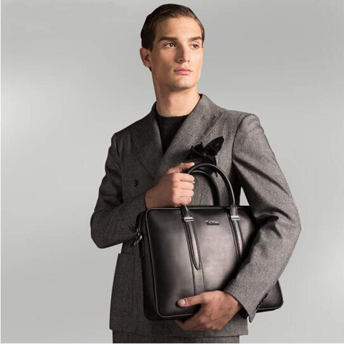 Large Capacity Black Mens Handbag Briefcase Business Bag