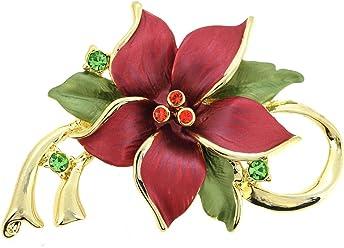 cd4392cef80 Fantasyard. Red Poinsettia Christmas Star Flower Swarovski Crystal Pin  Brooch and Pendant