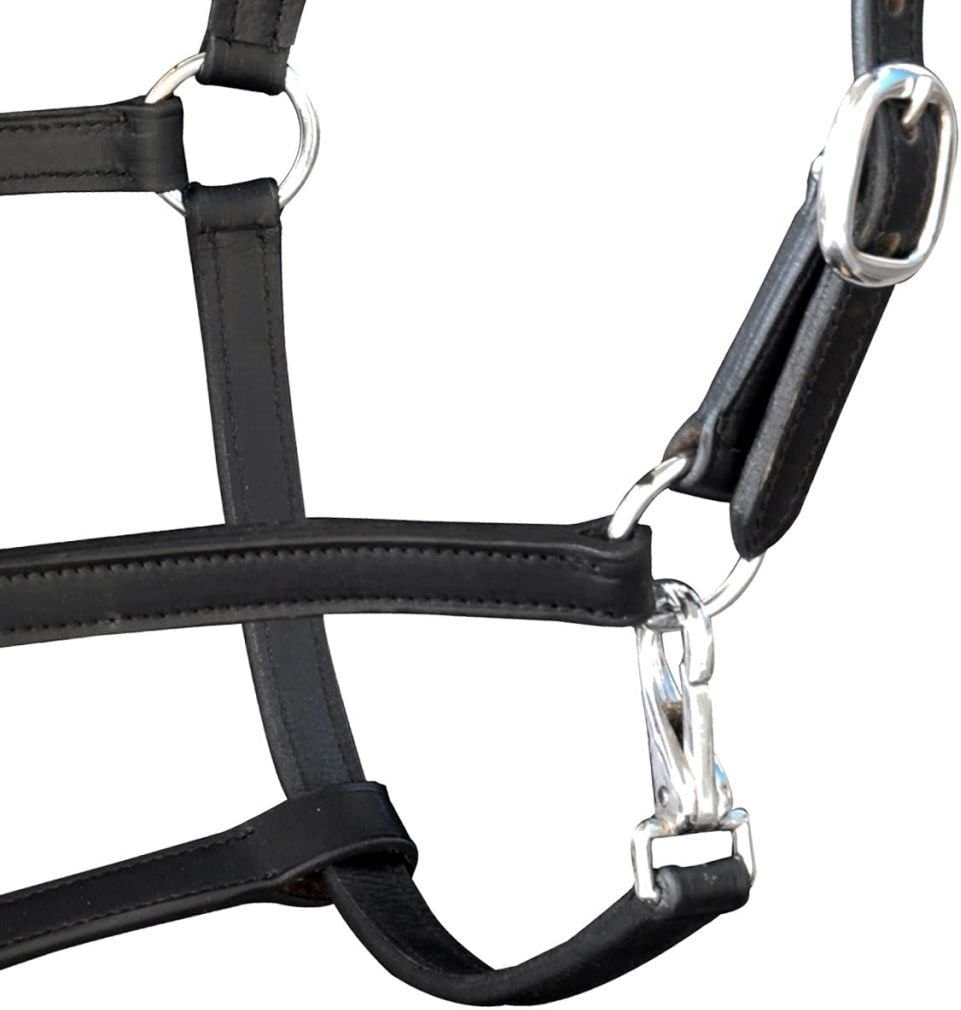 vidaXL Real Leather Headcollar Stable Halter Adjustable Soft Padded Black Pony Horse
