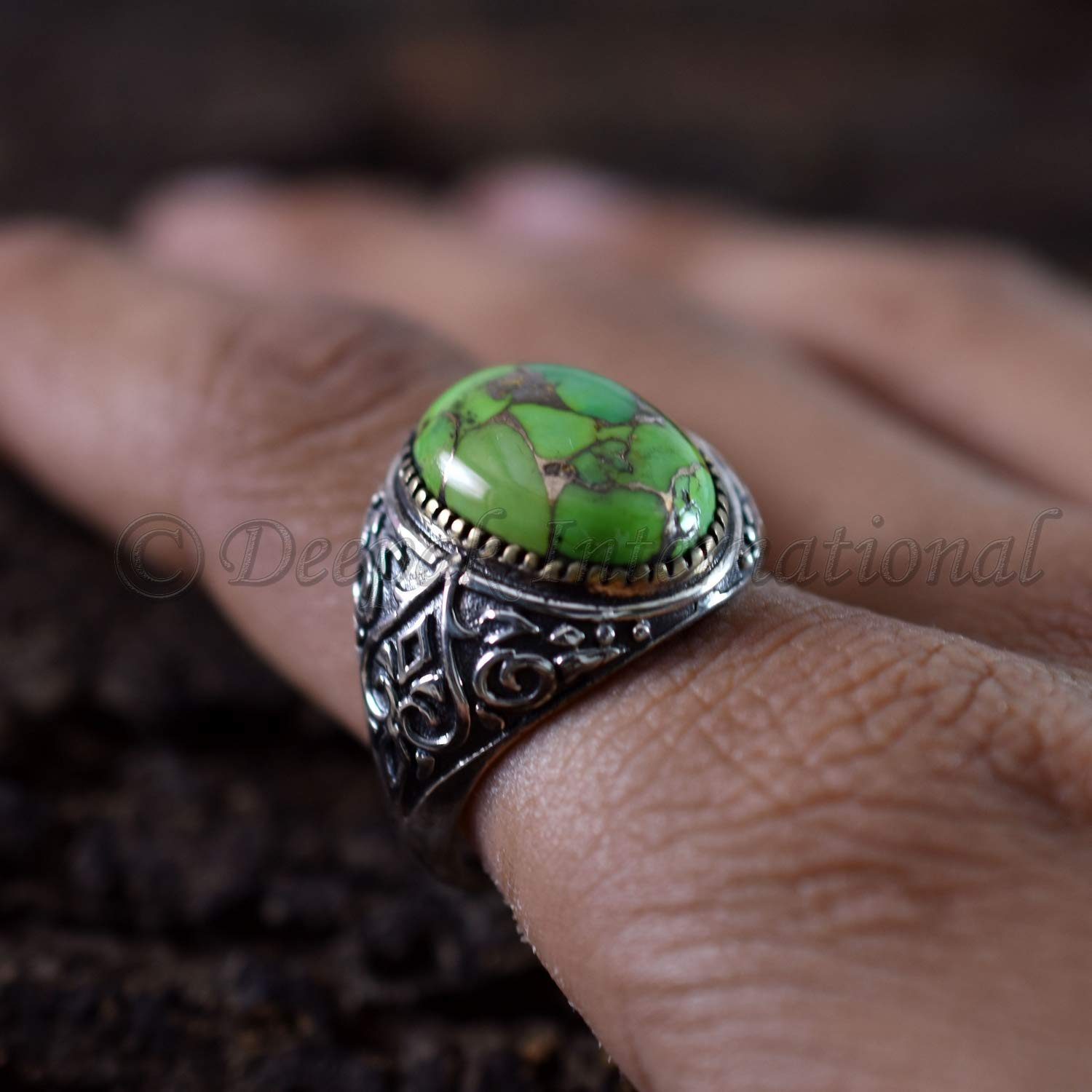 Sterling Silver Prong Set Natural Green And Black American Turquoise Ring
