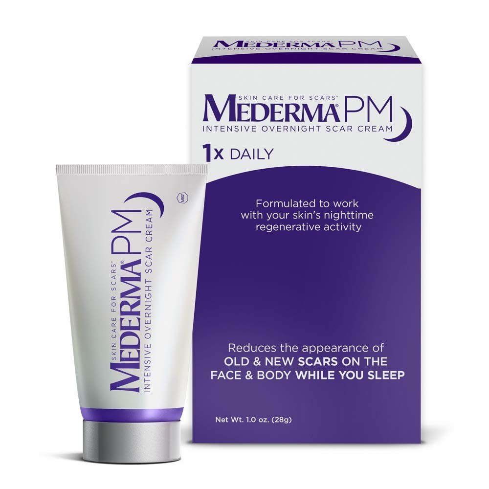 Mederma PM Intensive Overnight Scar Cream - Works with Skin's Nighttime Regenerative Activity - Once-Nightly Application is Clinically Shown to Make Scars Smaller & Less Visible - 1 Ounce by Mederma