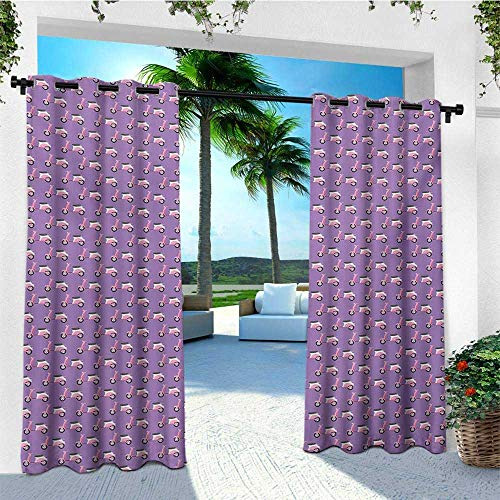 leinuoyi Motorcycle, Outdoor Curtain Set of 2 Panels, Vintage Deep Deck Girlie Scooters on a Purple Shaded Background, for Balcony W120 x L96 Inch Blush Dark Taupe Lavender