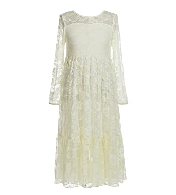 d6ec584cf3d5 Amazon.com  belababy Flower Girls Dress for Wedding White Ivory Long ...