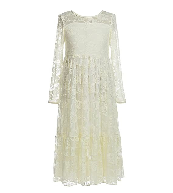 739bfb4895d belababy Flower Girls Dress for Wedding White Ivory Long Lace Dresses, 2-12T