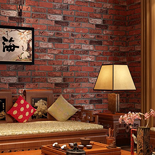 300cmX250cm wallpaper PVC retro brick wallpaper hotel decoration wallpaper wallpaper Chinese style red brick factory by ZLJTYN