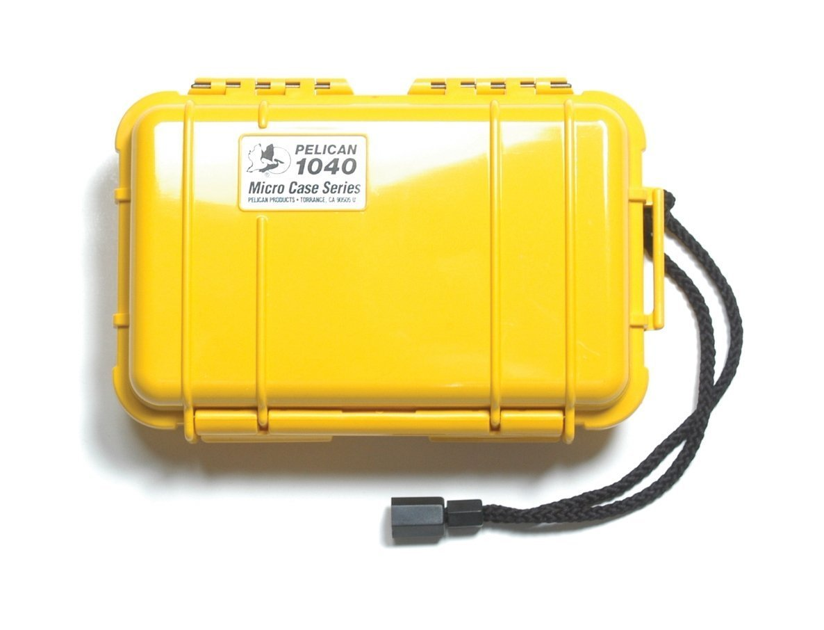 Pelican 1040 Yellow Micro Case with Yellow Lid and Carabiner