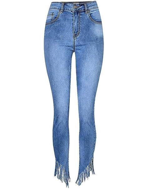 BOLAWOO Flecos De Las Mujeres Pantalones Vaqueros Dril De ...