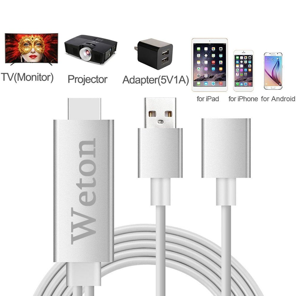 Lighting to HDMI Cable Adapter,Weton Lightning Digital AV Adapter on TV Projector Plug and Play iphone MHL HDMI Mirroring Cable for iPhone,iPad,Samsung by Weton