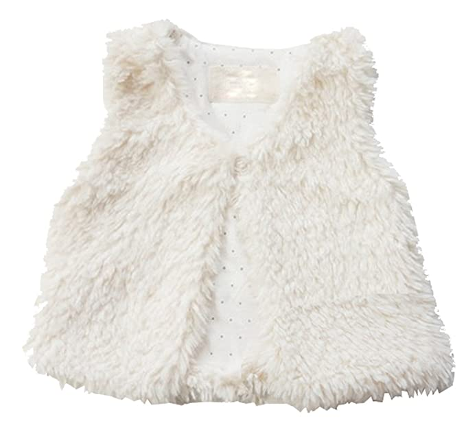 5b70020ee34b Amazon.com  Baby Little Girls Fur Vest White Outerwear  Clothing