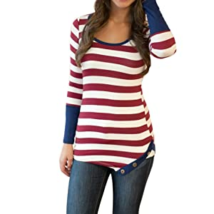 Gillberry  Women Fashion Stripes Stitching Long-sleeved Shirt Tops Blouse (S, Red)