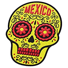 """Sugar skulls are typically used to celebrate The Day of the Dead but you can keep festive all year round with our Mexico City patch.  The patch is 3"""" tall by 2.25"""" wide with an iron-on backing.  Vagabond Heart makes vintage inspired steamer t..."""