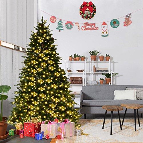 Goplus 7Ft Pre-Lit Artificial Christmas Tree Premium Spruce Hinged (Large Image)