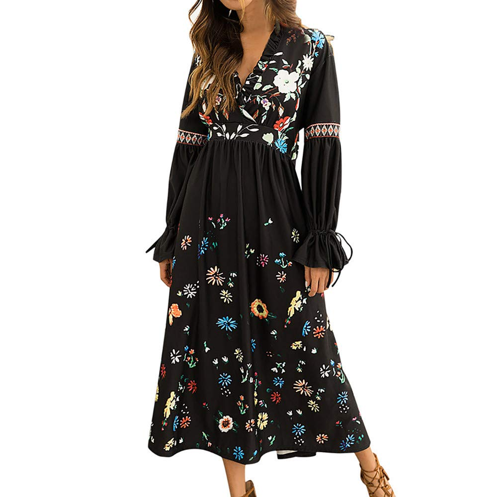 AMSKY Dress Maternity Photography,Womens V-Neck Print Zippers Flare Sleeve Daily Long Sleeve Night Party Dress,Sweaters,Black,XL