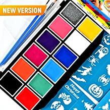 Face Paint - Body Paint - Face Painting - Best Professional Face Paint Kit - Non Toxic Hypoallergenic Water Based Face Paint Set for Kids - Face Paint Palette with 30 Face Stencils and 2 Brushes