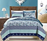 3-Piece Fine printed Quilt Set Reversible Bedspread Coverlet FULL / QUEEN SIZE Bed Cover (Navy Blue Paisley)