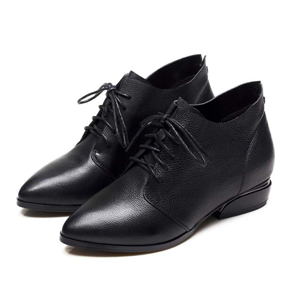 A Women's shoes Spring and Autumn Single shoes Thick with lace-up shoes Women Black Comfortable Women's shoes (color   B, Size   36)
