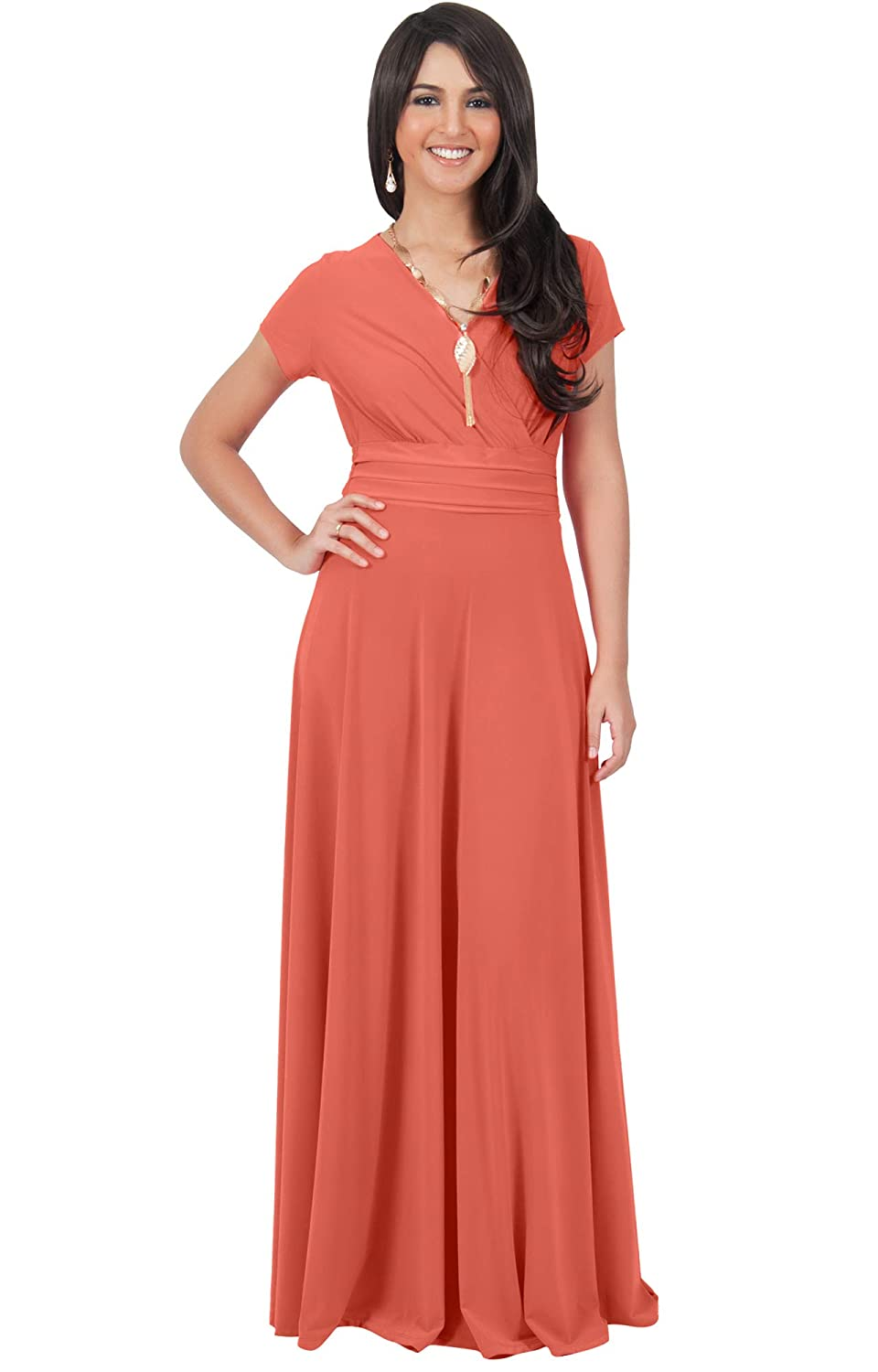 Koh Koh Petite Womens Long Cap Short Sleeve V-Neck Flowy Cocktail Slimming Summer Sexy Casual Formal Sun Sundress Work Cute Gown Gowns Maxi Dress Dresses, ...