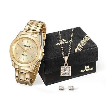 1ce197e4122 Kit Relógio Seculus Feminino Analógico Dourado 28876LPSVDA1K1 com Colar e  Brincos