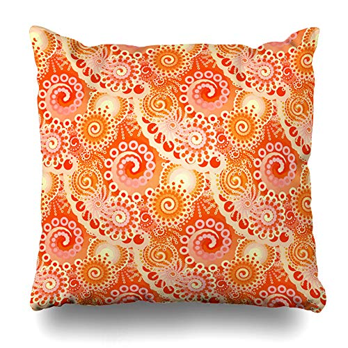 (Kutita Decorativepillows Covers 16 x 16 inch Throw Pillow Covers,Fractal Swirl Shades Coral Orange Coral Orange Dark Pink Gold Pattern Double-Sided Decorative Home Decor Pillowcase)