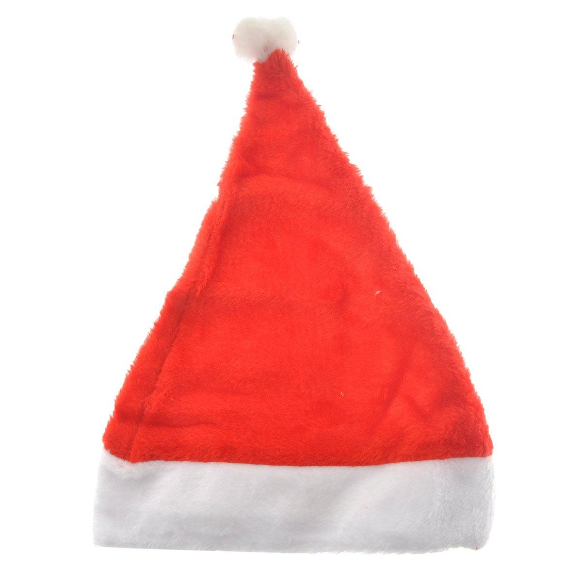 SUPVOX Unisex Adulto Morbido Velluto Natale Babbo Natale Cappello cap Decorazione Natalizia - Formato Gratuito (Rosso)