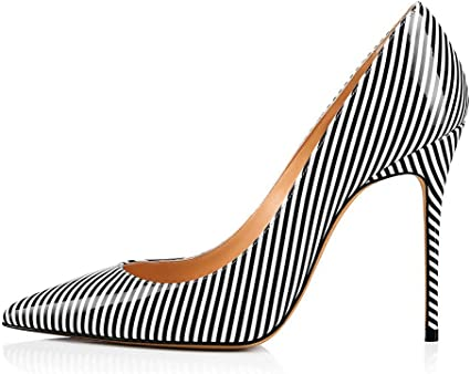 Black and White Striped Sandals