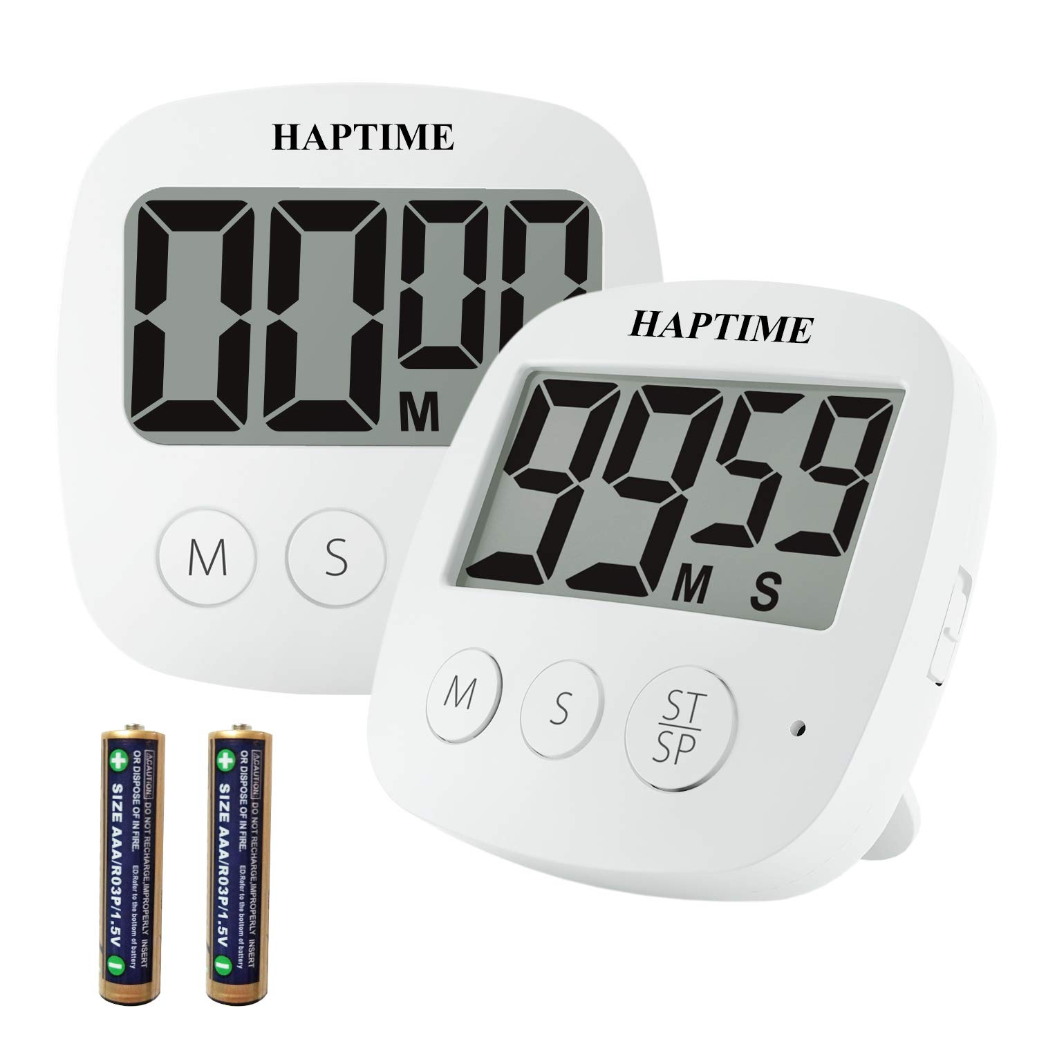HAPTIME Digital Kitchen Timer for Cooking, Large LCD Display, Strong Magnetic Back, Retractable Stand and Hook, Volume Adjustable for Loud or Gentle Alarm, Auto sleep for Energy Saving - White, 2 Pack