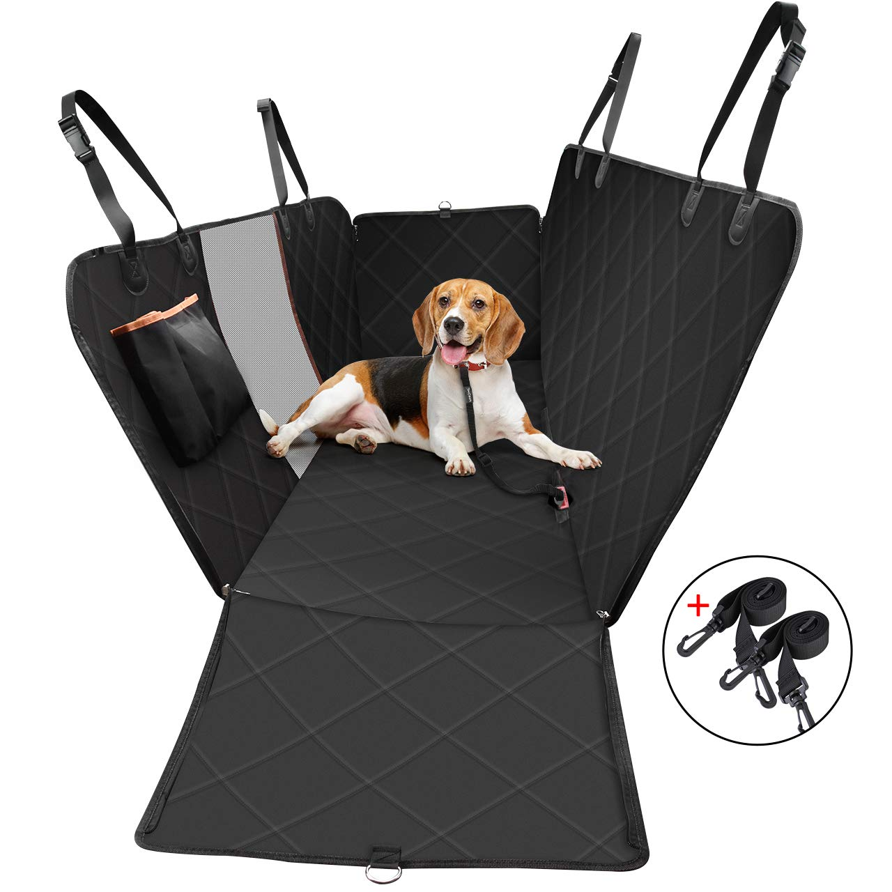 OMORC Dog Car Seat Covers, Special Reinforced Pet Car Seat Cover with Mesh Window & Storage Pocket, Scratch Proof & Waterproof, Easy to Install & Clean, Hammock with Side Flaps of Car/Truck/SUV