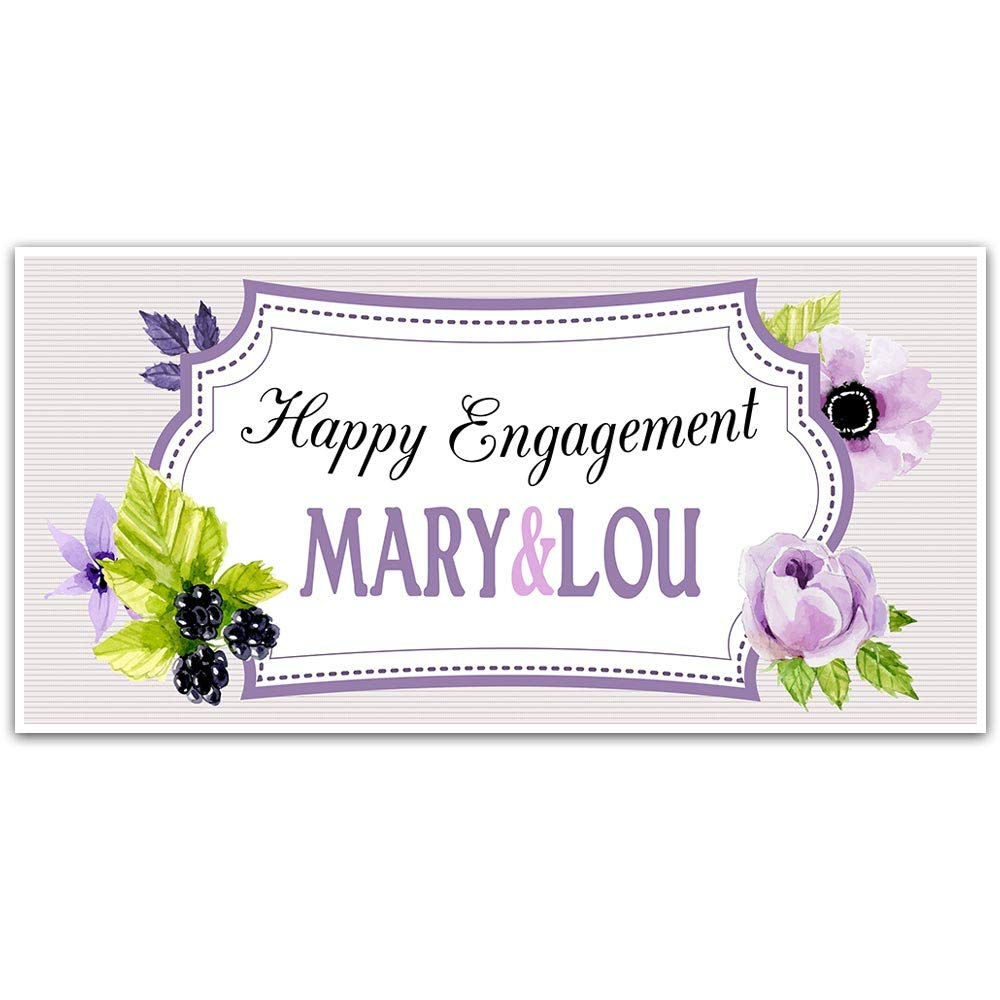 Purple Flowers and Frame Engagement Banner Decoration Backdrop
