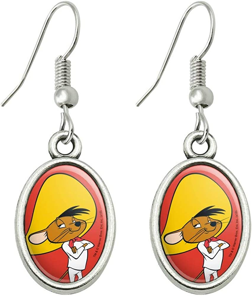GRAPHICS & MORE Looney Tunes Speedy Gonzales Novelty Dangling Drop Oval Charm Earrings